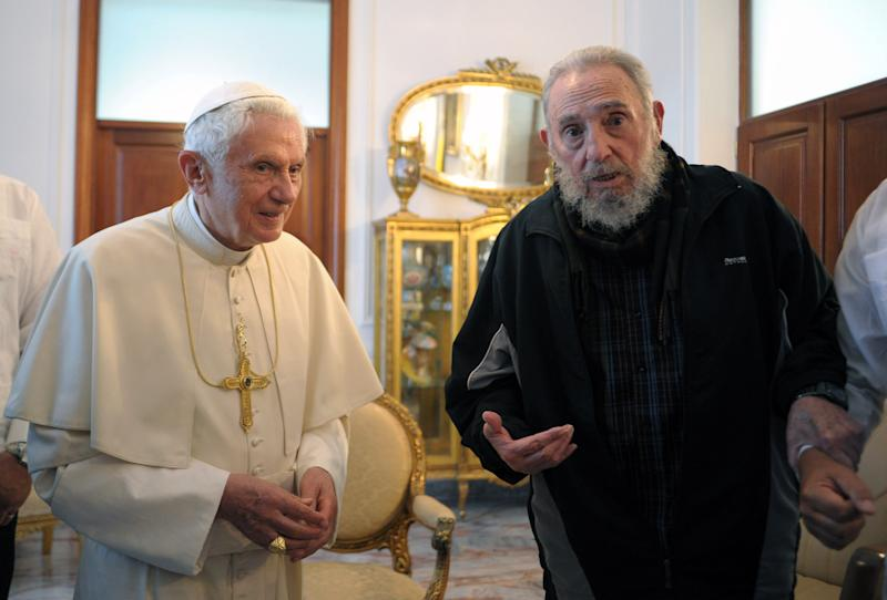 FILE - In this Wednesday, March 28, 2012 file photo provided by the Vatican newspaper L'Osservatore Romano Pope Benedict XVI meets with Fidel Castro in Havana. Benedict announced Monday Feb. 11, 2013 he would  resign Feb. 28, the first pontiff to do so in nearly 600 years. (AP Photo/L'Osservatore Romano, File)