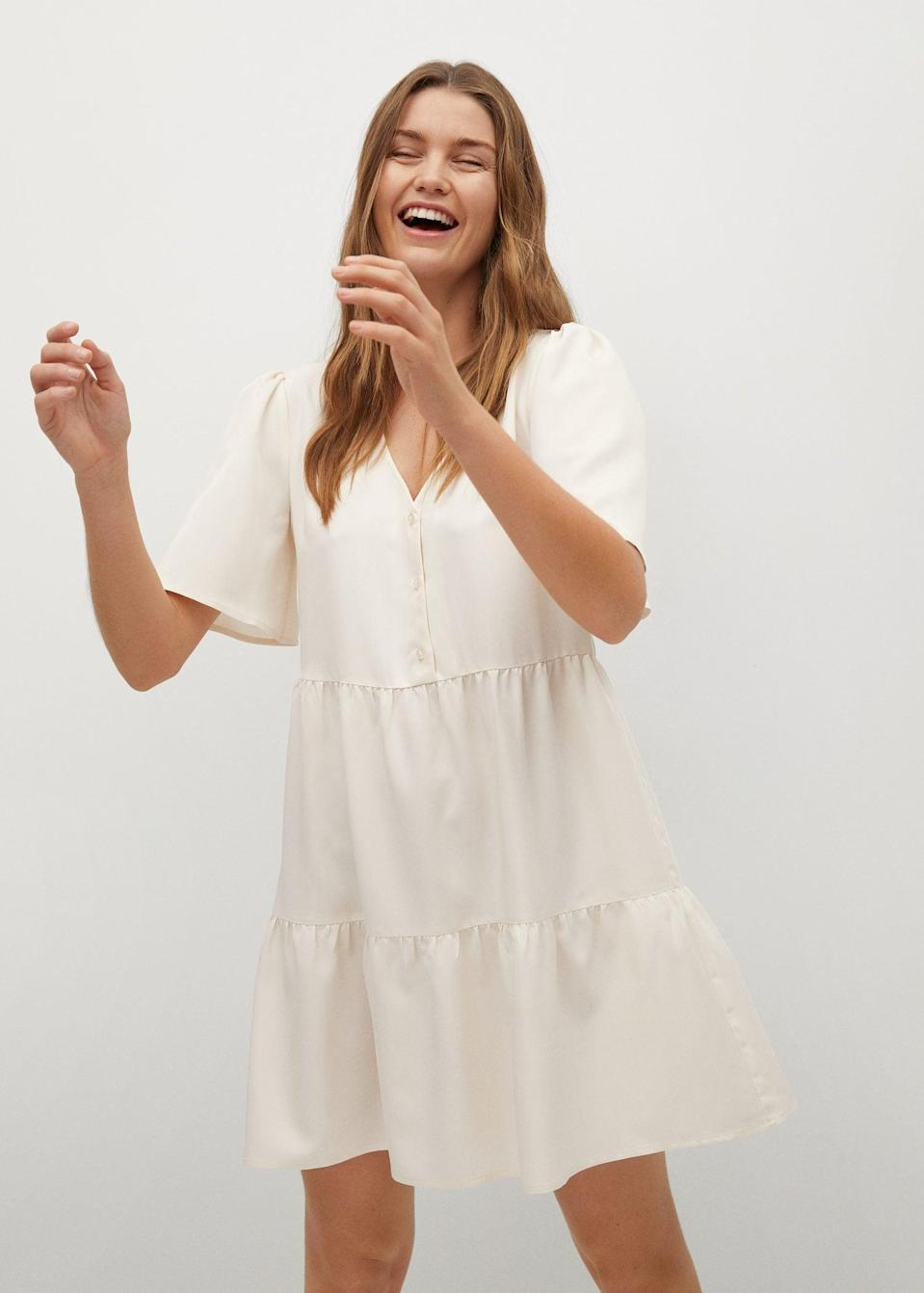 <p>Feel light and easy in this modern <span>Mango Flowy Ruffled Dress</span> ($50).</p>