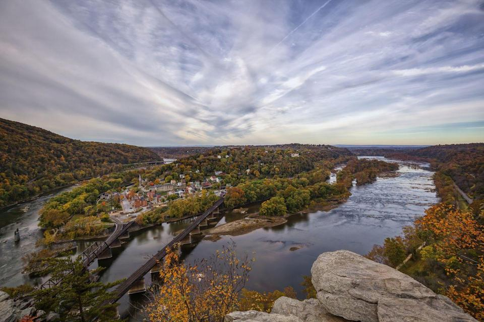 """<p><a href=""""https://www.nps.gov/hafe"""" rel=""""nofollow noopener"""" target=""""_blank"""" data-ylk=""""slk:Harpers Ferry National Historical Park"""" class=""""link rapid-noclick-resp""""><strong>Harpers Ferry National Historical Park</strong></a></p><p>There's a quaint little village where the Potomac and Shenandoah Rivers meet. Stand at The Point and you'll be able to see Maryland and Virginia, and you'll see plenty of thru-hikers from the Appalachian trail. </p>"""