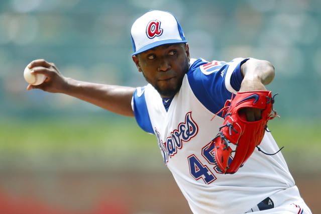 Atlanta Braves starting pitcher Julio Teheran delivers in the first inning of a baseball game against the Cincinnati Reds, Sunday, Aug.4, 2019, in Atlanta. (AP Photo/Todd Kirkland)