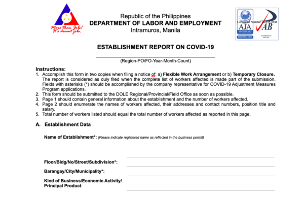 COVID-19 Government Assistance - DOLE Cash Assistance (CAMP)