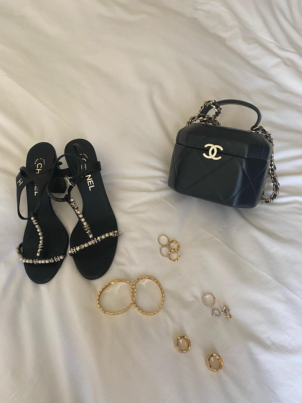 So many sparkly things! That bag can wildly hold so much, and I was obsessed with the CHANEL Coco Crush rings; I felt so empowered wearing them.