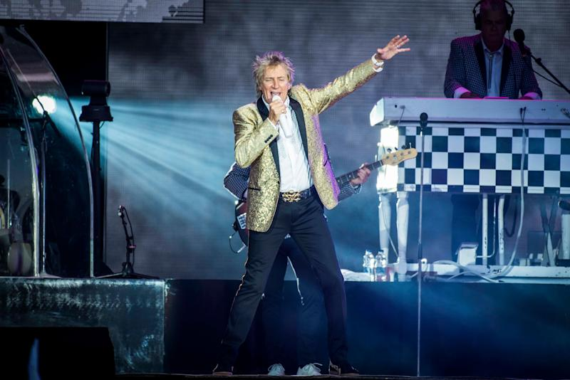 Rod Stewart performs on day four of the Isle of Wight Festival 2017, at Seaclose Park, Isle of Wight.