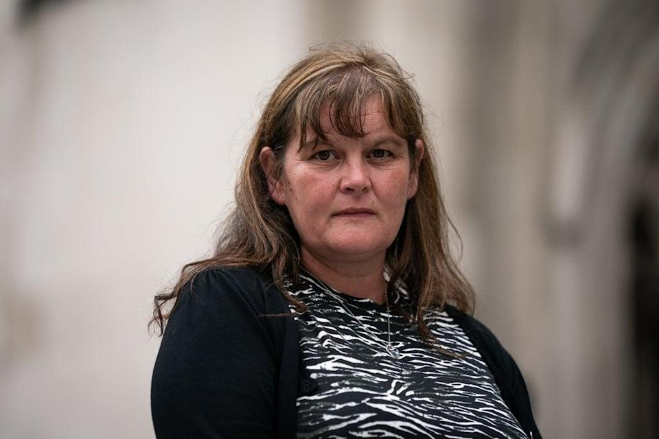 Rebecca Currie, 41, the mother of Mathew Currie, aged five, outside the Royal Courts of Justice in London (Aaron Chown/PA) (PA Wire)