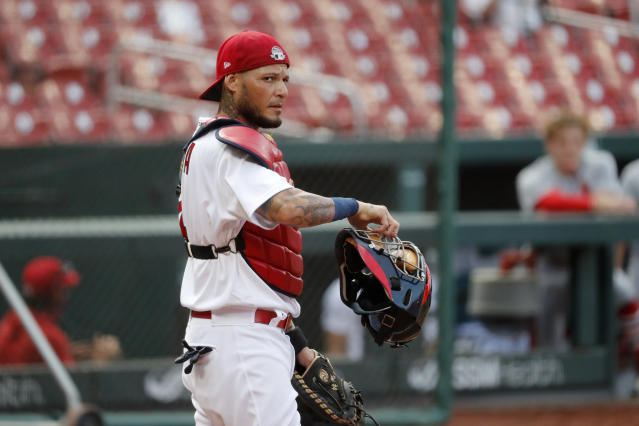 St. Louis Cardinals catcher Yadier Molina takes up his position during an intrasquad practice baseball game at Busch Stadium Thursday, July 9, 2020, in St. Louis. (AP Photo/Jeff Roberson)