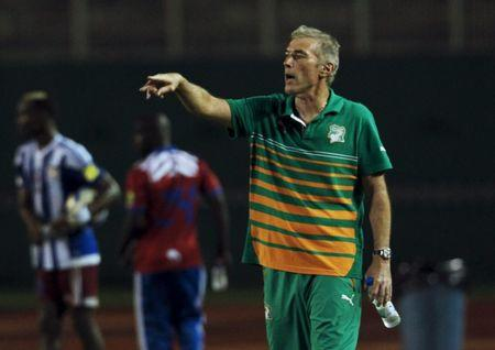 Ivory Coast's coach Dussuyer gestures during their 2018 World Cup qualifying soccer match at Felix Houphouet Boigny Stadium in Abidjan