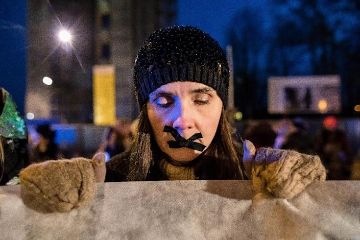 Over 100 protesters on both sides of the abortion divide rallied in front of parliament during the debate (AFP Photo/Wojtek RADWANSKI)