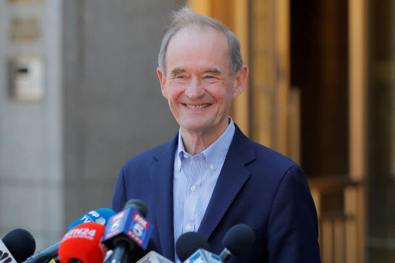 FILE PHOTO: Lawyer David Boies speaks to reporters outside the courthouse after a bail hearing in U.S. financier Jeffrey Epstein's sex trafficking case in New York City