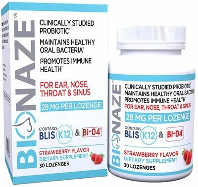 The Bionaze product next to it's box. Bionaze is an all natural probiotic consisting of two clinically studied and patented probiotic bacteria strains. Studies have shown them to be effective in reducing the negative effects of chronic ear, nose, throat and sinus issues.