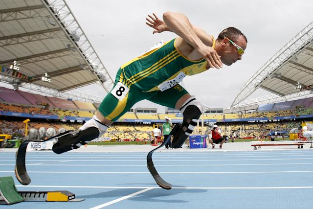 "Oscar Pistorius of South Africa comes out of the starting blocks during his men's 400 metres heat at the IAAF World Championships in Daegu in this August 28, 2011 file photo. Pistorius is due to be released on Friday after serving 10 months of a five-year sentence, in line with South Africa's custodial guidelines for non-dangerous prisoners. REUTERS/Max Rossi/FilesFROM THE FILES PACKAGE ""OSCAR PISTORIUS DUE TO BE RELEASED"". SEARCH ""PISTORIUS FILES"" FOR ALL 20 IMAGES"