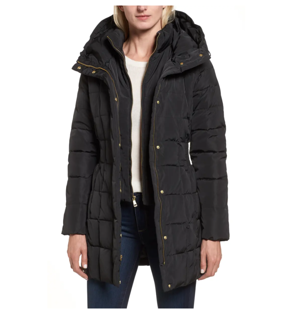 Cole Haan Hooded Down & Feather Jacket. Image via Nordstrom.