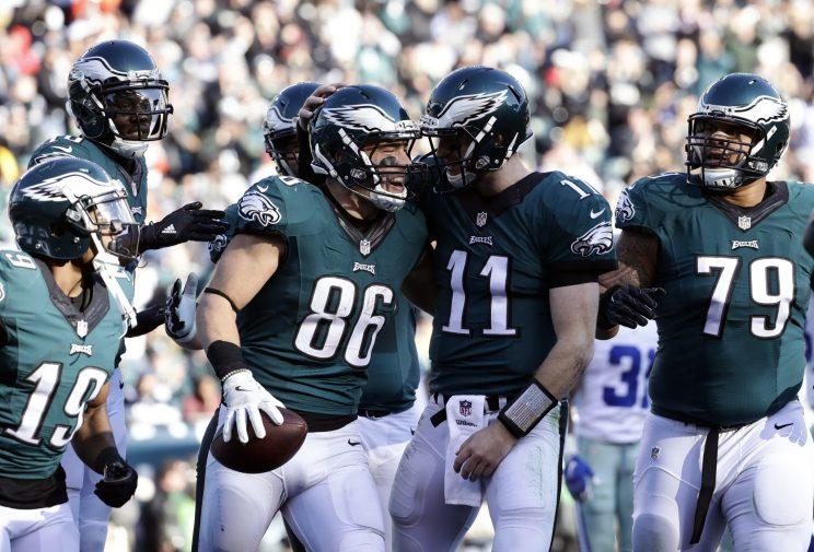 Carson Wentz and Zach Ertz celebrate a touchdown last season. (AP)