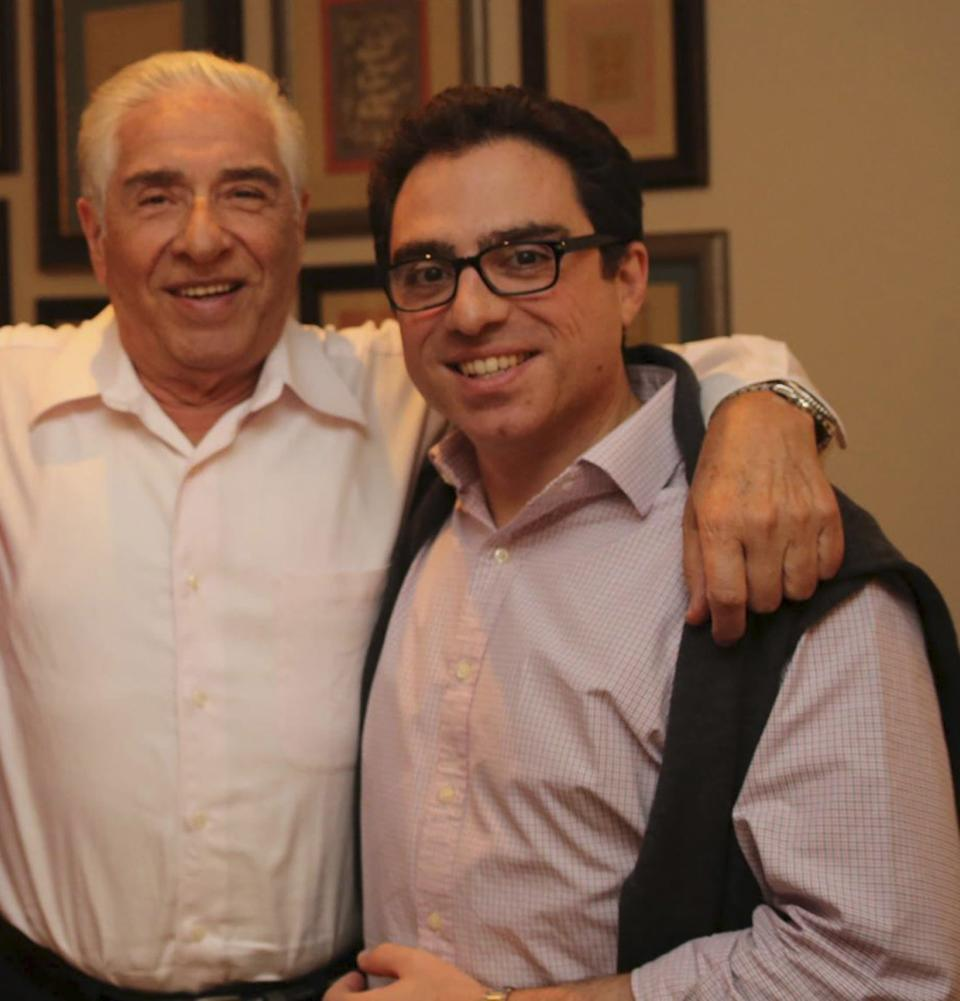 Iranian-American consultant Siamak Namazi (R) is pictured with his father Baquer Namazi in this undated family handout picture. The United Nations Children's Fund said on March 3, 2016 it is worried about the health and well-being of one of its former officials, an elderly man jailed in Iran for more than a week. Baquer Namazi, whose son Siamak has been jailed in Iran since October, was himself arrested on Feb. 22 and taken to Tehran's Evin Prison, his wife said last week on social media. Both the elder Namazi and his son are dual U.S.-Iranian citizens. REUTERS/Handout via Reuters ATTENTION EDITORS - THIS PICTURE WAS PROVIDED BY A THIRD PARTY. REUTERS IS UNABLE TO INDEPENDENTLY VERIFY THE AUTHENTICITY, CONTENT, LOCATION OR DATE OF THIS IMAGE. EDITORIAL USE ONLY. NOT FOR SALE FOR MARKETING OR ADVERTISING CAMPAIGNS. NO RESALES. NO ARCHIVE. THIS PICTURE IS DISTRIBUTED EXACTLY AS RECEIVED BY REUTERS, AS A SERVICE TO CLIENTS
