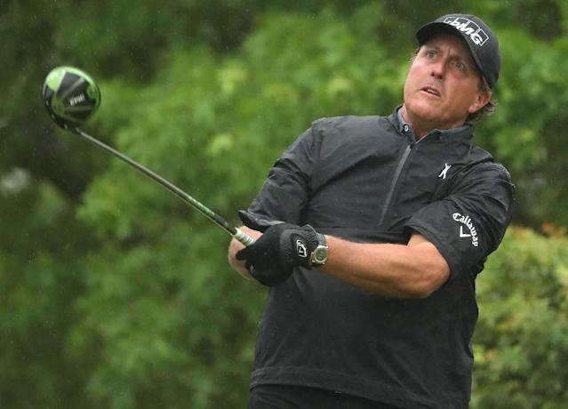 Phil Mickelson tees off on the 6th hole of his match during round three of the World Golf Championships-Dell Technologies Match Play at the Austin Country Club on March 24, 2017 (AFP Photo/Christian Petersen)