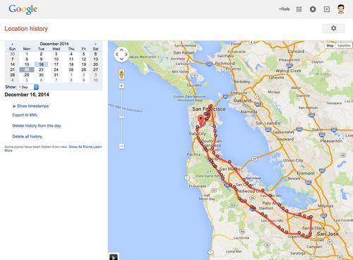 Map showing Google location history