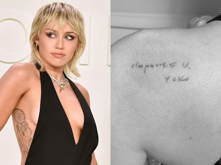 Miley Cyrus has a tattoo of a note written by Yoko Ono.