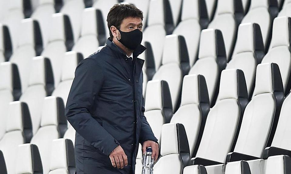 Juventus chairman Andrea Agnelli in the stands during the 3-1 win against Parma.