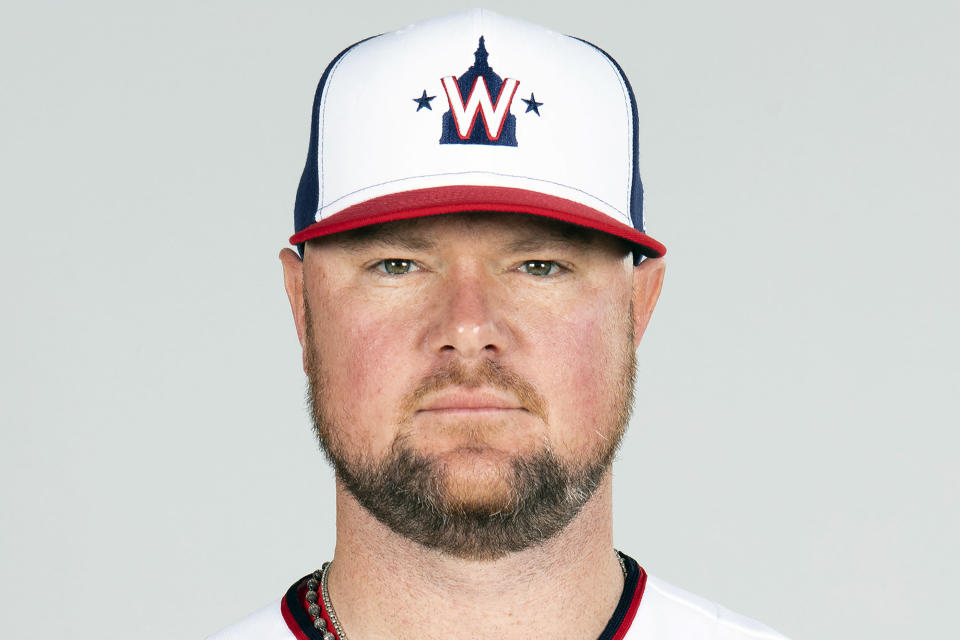 FILE - This is a Friday, Feb. 26, 2021, photo showing Jon Lester of the Washington Nationals baseball team. Nationals manager Dave Martinez said Lester has been playing catch on flat ground and soon should be able to throw off a mound again to work his way into form for the regular season, which begins April 1. The Nationals left-hander had surgery to remove a thyroid gland. (Mary DeCicco/MLB Photos via AP, Pool, File)