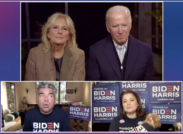 Biden and his wife being interviewed virtually by actor George Lopez. Source: Twitter