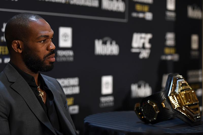 HOUSTON, TEXAS - FEBRUARY 06: Jon Jones interacts with media during the UFC 247 Ultimate Media Day at the Crowne Plaza Houston River Oaks on February 06, 2020 in Houston, Texas. (Photo by Josh Hedges/Zuffa LLC)