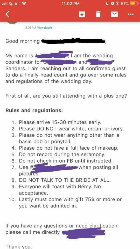A bridezilla has gone viral with her outrageous wedding demands. (Photo: Reddit/laika_cat)