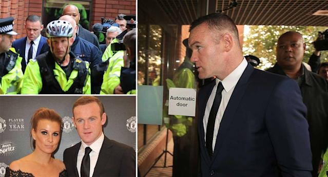 Rooney outside court today and, bottom left, pictured with wife Coleen (PA)