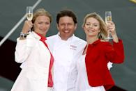 Jodie (l) and Jemma Kidd (r) with celebrity chef James Martin as they are announced as godmothers to the ship, Ocean Village Two