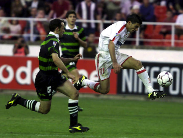 Jose Antonio Reyes of Sevilla in action during the Primera Liga match between Sevilla and Racing Santander (Photo by Firo Foto/Getty Images)