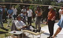 <p>Sean Connery kicks back between scenes playing James Bond on the set of <em>Diamonds Are Forever</em> in Palm Springs, California. </p>