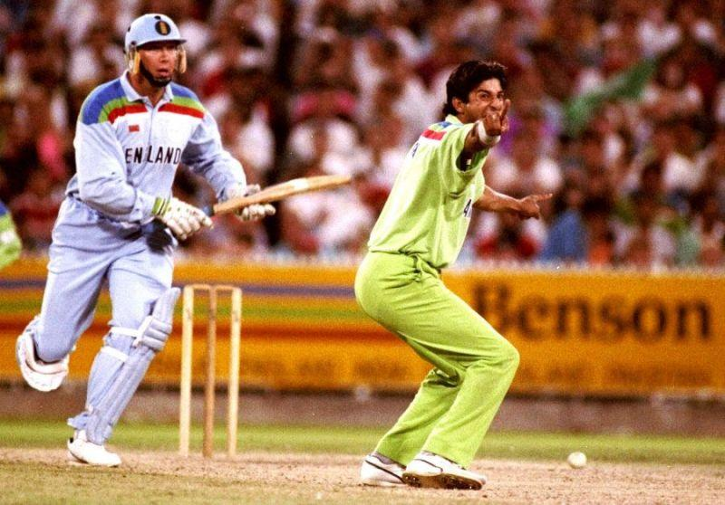 Wasim Akram during the 1992 World Cup