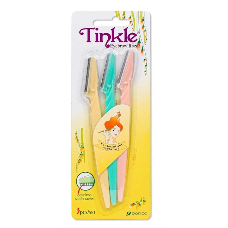 """These no-frills razors are beloved by hundreds of reviewers. They're sharp enough to grab hair with no scraping or cutting, easy to maneuver around the skin, and so inexpensive that you can use a few times, then toss. They can be used on eyebrows, upper lip, or on the whole face for light exfoliation. $4.5, Amazon. <a href=""""https://www.amazon.com/Tinkle-Eyebrow-Razor-PACKS-RAZORS/dp/B071JJ1C86?dchild="""" rel=""""nofollow noopener"""" target=""""_blank"""" data-ylk=""""slk:Get it now!"""" class=""""link rapid-noclick-resp"""">Get it now!</a>"""