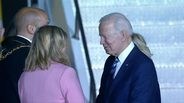 Biden arrives at Newquay Airport for G7 summit