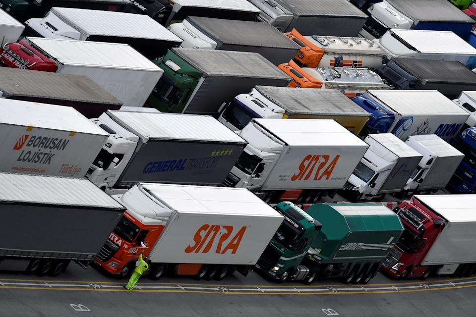 Lorries queue at Dover port (REUTERS)