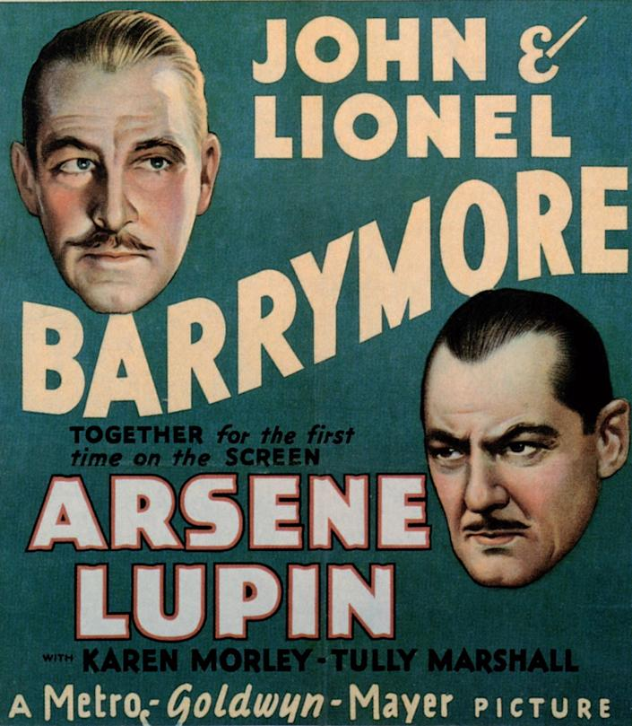 """Poster for a 1932 Lupin film adaptation starring John and Lionel Barrymore<span class=""""copyright"""">LMPC via Getty Images</span>"""