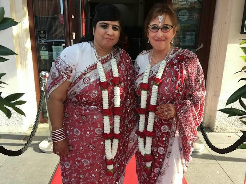 Hindu-Jewish lesbian couple's joy after search for wedding priest