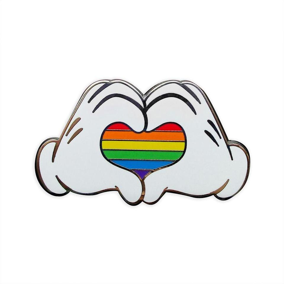 <p>Show you have heart with this <span>Mickey Mouse Heart Hands Pin</span> ($10).</p>