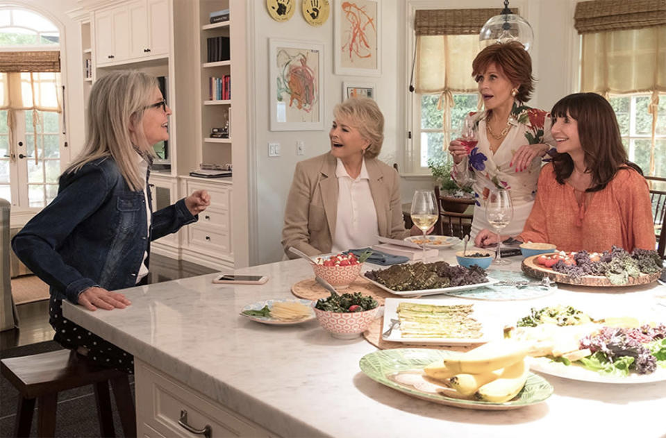 """<p>Four older women (Diane Keaton, Jane Fonda, Candice Bergen, and Mary Steenburgen) who are members of a book club have their lives — and romantic fortunes — re-energized after reading E.L. James's <em>Fifty Shades of Grey</em> in this second-chance comedy, which also stars Andy García, Don Johnson, Richard Dreyfuss, and Craig T. Nelson as their paramours. 