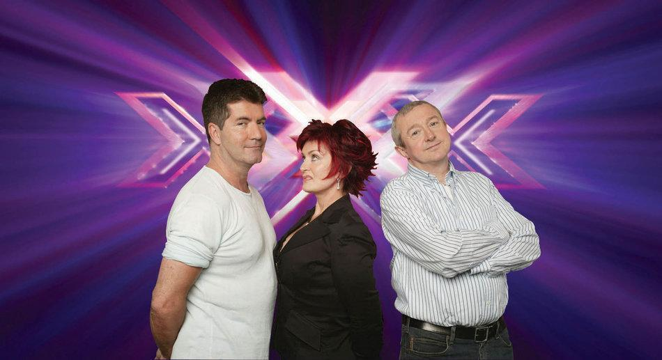 Sharon Osbourne with Simon Cowell and Louis Walsh (Credit: ITV)
