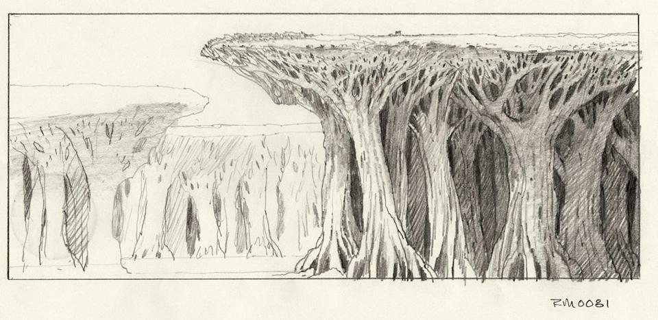 """<p>Lageose says that these early sketches """"were absolutely concepts for ['The Empire Strikes Back'], and the idea and visuals were transferred later to the ['Star Wars Holiday Special'] television special. And then in the prequels we finally saw Kashyyyk, the Wookiee home world in a feature."""" </p>"""