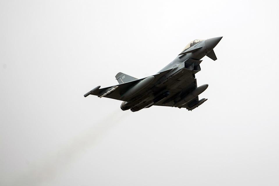 <p>Typhoon FGR4s were used to conduct the air strike, with Storm Shadow missiles being used for the first time in two years</p> (PA)