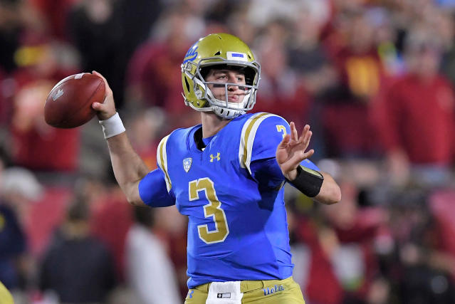 FILE - In this Nov. 18, 2017, file photo, UCLA quarterback Josh Rosen passes during the first half of an NCAA college football game against Southern California in Los Angeles. Rosen is expected to be a first round pick in the NFL Draft. (AP Photo/Mark J. Terrill, File)