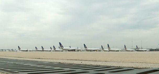PHOTO: United has parked 70 aircraft at Dulles International Airport, one of the airline's hubs. (Nate Luna/ABC News)