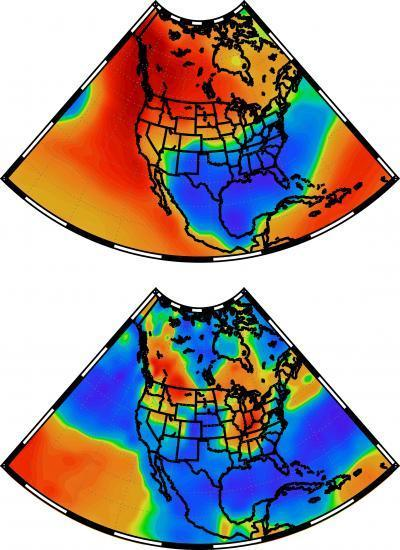 These maps show winter temperature patterns (top) and winter precipitation patterns (bottom) associated with a curvy jet stream.