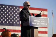 Democratic presidential candidate former Vice President Joe Biden speaks during a campaign rally at the Minnesota State Fairgrounds in St. Paul, Minn., Friday, Oct. 30, 2020. (AP Photo/Andrew Harnik)