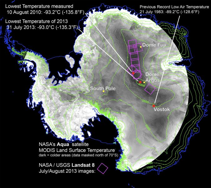 With remote-sensing satellites, scientists have found the coldest places on Earth, just off a ridge in the East Antarctic Plateau, as illustrated in this graphic courtesy of NASA released December 9, 2013. They found that the high ridge contains pockets of trapped air that dipped as low as minus 136 Fahrenheit (minus 93 degrees Celsius) on August 10, 2010, researchers said at the American Geophysical Union meeting in San Francisco on Monday. REUTERS/NASA/Ted Scambos, National Snow and Ice Data Center/Handout via Reuters (ANTARCTICA - Tags: ENVIRONMENT) FOR EDITORIAL USE ONLY. NOT FOR SALE FOR MARKETING OR ADVERTISING CAMPAIGNS. THIS IMAGE HAS BEEN SUPPLIED BY A THIRD PARTY. IT IS DISTRIBUTED, EXACTLY AS RECEIVED BY REUTERS, AS A SERVICE TO CLIENTS