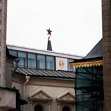 Red star, hammer and sickle on display inside the Kremlin. (#NickInEurope)
