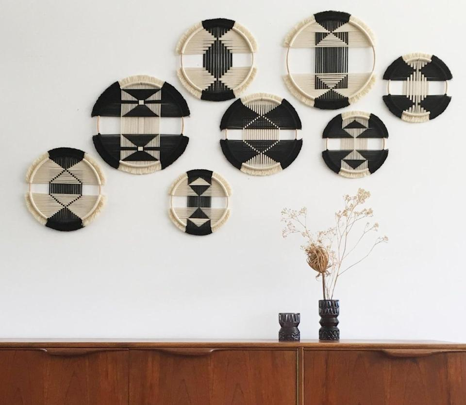 "This Netherlands-based Etsy shop specializes in contemporary fiber art and wall hangings. Shop these <a href=""https://fave.co/2AmASzL"" target=""_blank"" rel=""noopener noreferrer"">geo series wall hangings for $198</a> at <a href=""https://fave.co/2AliNlu"" target=""_blank"" rel=""noopener noreferrer"">Studio Nom on Etsy</a>."