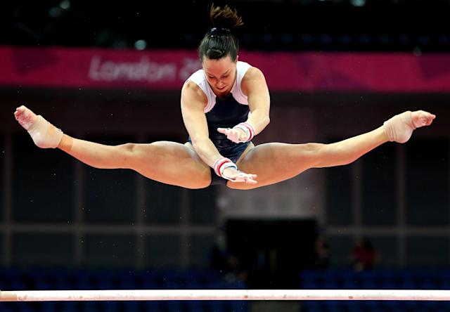 LONDON, ENGLAND - JULY 26: Beth Tweddle of Great Britain on the Asymetric Bars during training sessions for Artistic Gymnastics ahead of the 2012 Olympic Games at Greenwich Training Academy on July 26, 2012 in London, England. (Photo by Christian Petersen/Getty Images)