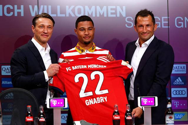 Soccer Football - Bayern Munich Press Conference - Allianz Arena, Munich, Germany - July 2, 2018 Bayern Munich coach Niko Kovac, Bayern Munich's Serge Gnabry and Bayern Munich sporting director Hasan Salihamidzic pose after the press conference REUTERS/Michaela Rehle