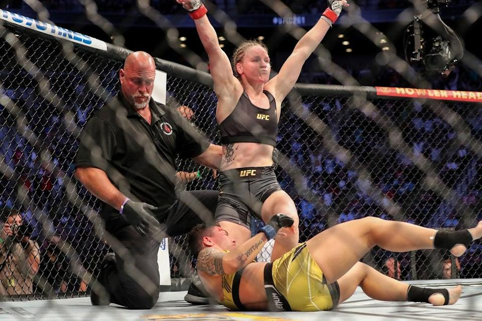 Valentina Shevchenko after retaining her flyweight belt against Jessica Andrade (Getty Images)